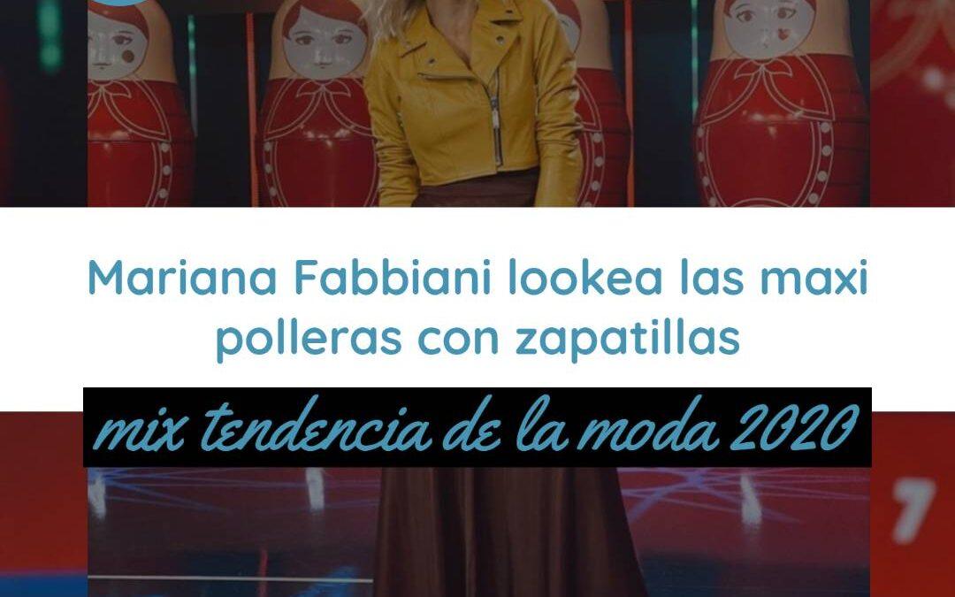 Mariana Fabbiani lookea las maxi polleras con zapatillas: mix tendencia de la moda 2020